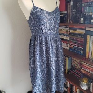 NWT Loft Blue Floral Lace Midi Dress 2P